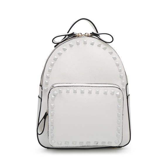 c828a35e66 2016 Rivet Leather Women Fashion Designer White Backpack pictures   photos