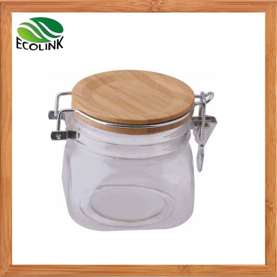 Plastic Cosmetic Cream Jar with Bamboo Lid pictures & photos