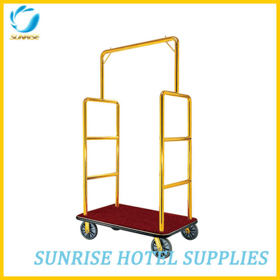 High Quality Stainless Steel Luggage Cart for Hotel Lobby