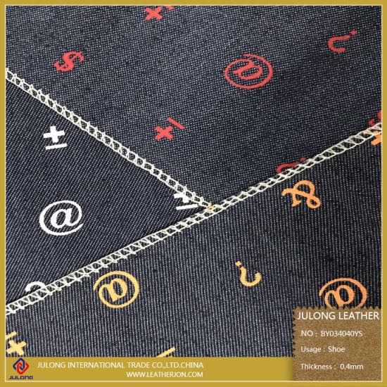 China Printed Symbols Pure Cloth Fabric For Shoes China Pu Leather