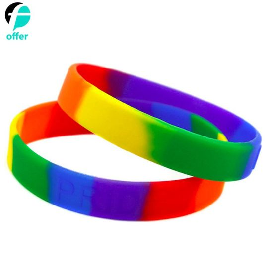 Rainbow Pride Wristbands Silicone Rubber Bracelets