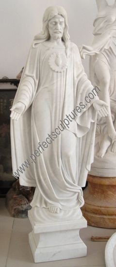 Carved Natural Stone Christ Figure Statue Marble Carving Sacred Heart Jesus Sculpture (SY-X1420)
