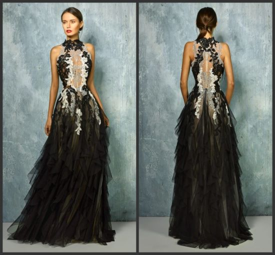9dfb94ef0a Sleeveless Black Party Prom Gowns Lace Appliqued Silver Ivory Evening Dress  B1278 pictures   photos
