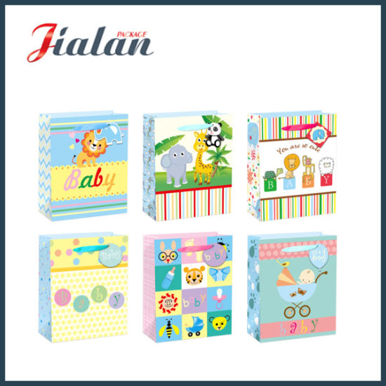 Custom Made Colorful Paper Printed Baby Gifts Packaging Shopping Bag