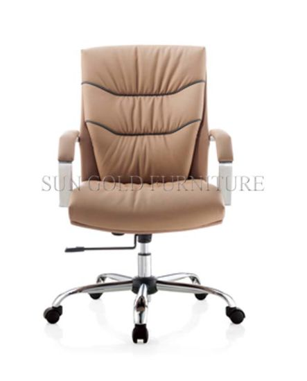 Modern Hot Selling Cow Leather Beige Leather Office Chair (SZ-OC041) pictures & photos