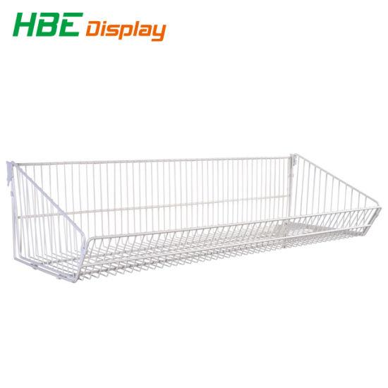Supermarket Wire Mesh Bin Hanging Basket For Shelf Cross Bar