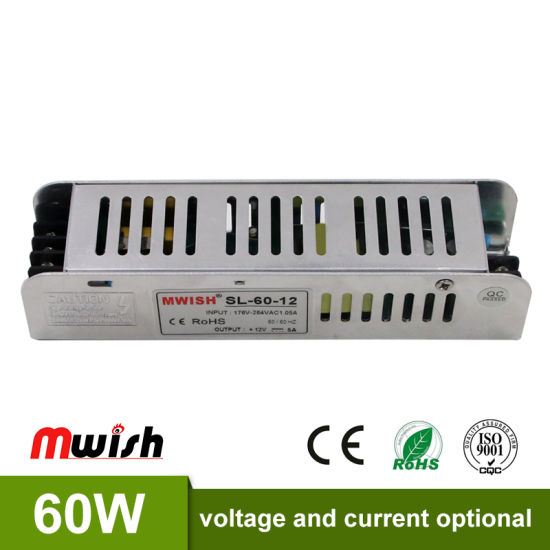 china high efficiency 60w 12v slim indoor ac dc led swithcing power