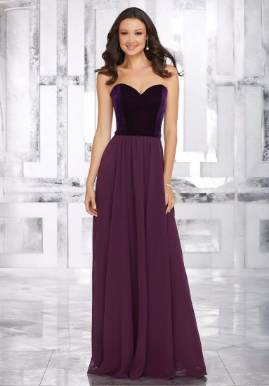 Strapless A Line Floor Length Bridesmaid Wedding Bridal Gowns