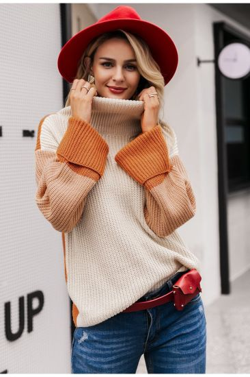 Large Size Color Blocking Turtleneck Knitted Women Sweater Fashion Clothes