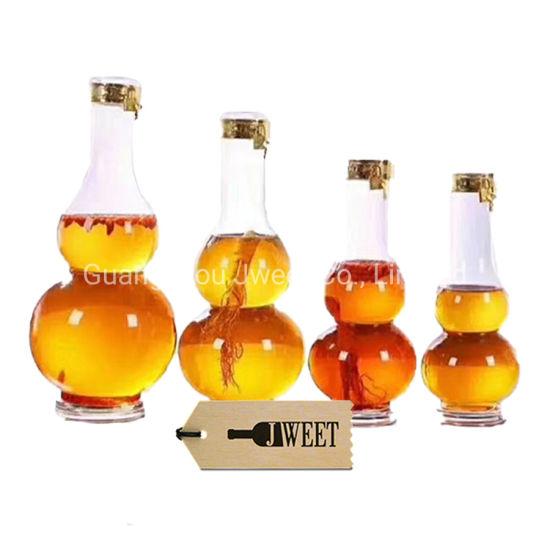 750ml Gourd Shape Ginseng Wine Glass Bottle for Spirit
