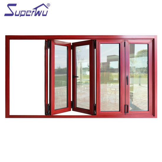 Commercial System Double Tempered Glass Aluminum Bi-Folding Aluminium Folding Window