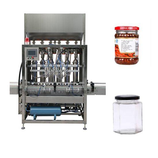 Piston Tomato Paste Bottle Filling Sealing Machine / Ketchup Sauce Bottling Labeling Line