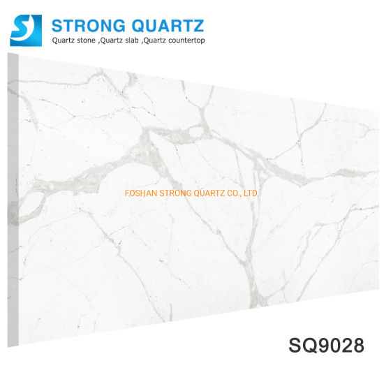 China 3200*1600mm Calacatta White/Black/Grey Artificial/Engineered Quartz Stone Slabs Price/Factory/Manufacturer