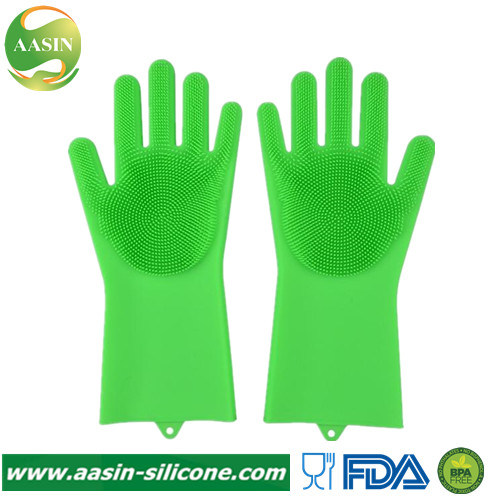 New Magic Silicone Rubber Cleaning Gloves with Wash Scrubber