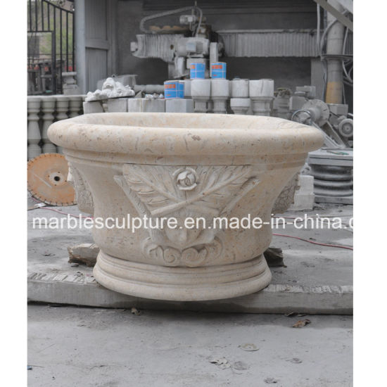 Yellow Marble Stone Sculpture Bath Tubs for Indoor Decoration (SY-BT001) pictures & photos