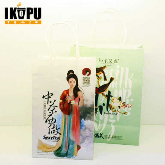 Promotional Custom Printed Kraft Paper Shopping Packaging Carrier Gift Bags for Packing with Handles