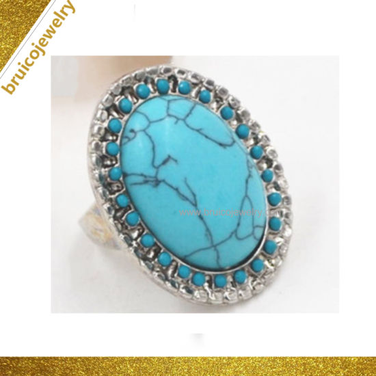 Deluxe Wedding Ring Costume Fashion Gold Accessories Jewelry Finger Ring  with Turquoise for Engagement