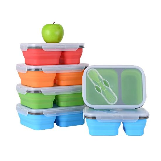 Amazon Top Seller Kitchenware Customized Silicone Food Container Foldable Collapsible Lunch Box Sb104