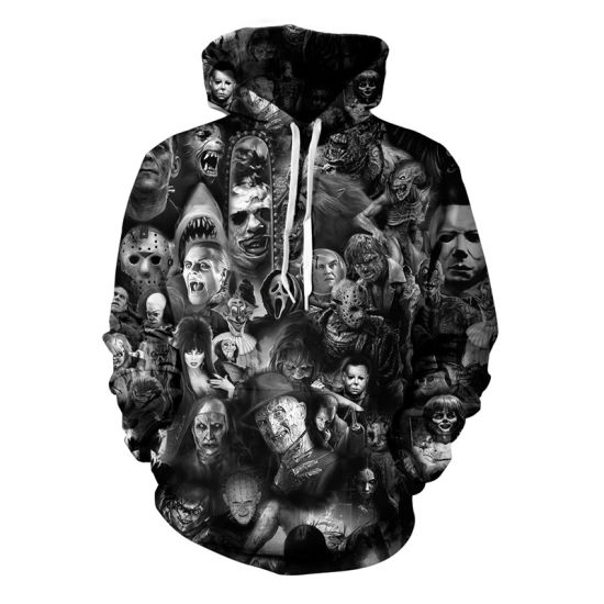 New Couples 3D Digital Printing Ghost Head Sweater Leisure Apparel