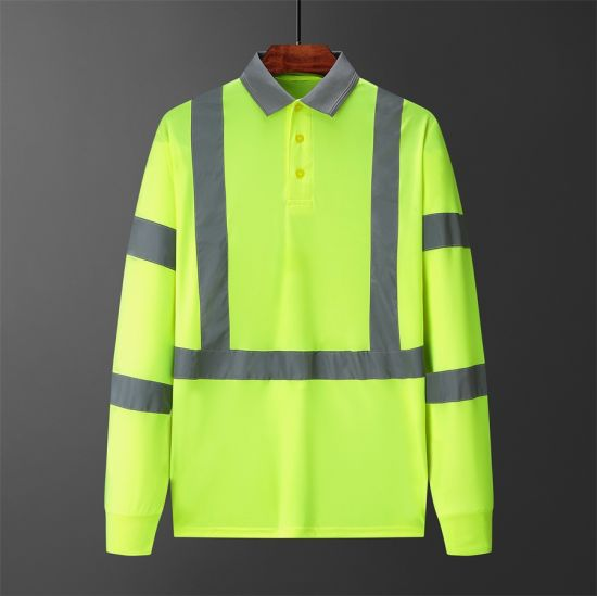 Mens Long Sleeve Hivis Polo Shirt with Reflective Tape Safety Clothing