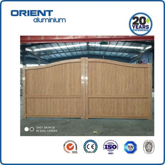 Wooden Color Aluminium Entrance Gate