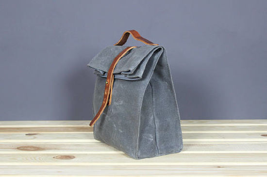 China Vintage Waxed Canvas Lunch Bag School Picnic Bag Snack Bag