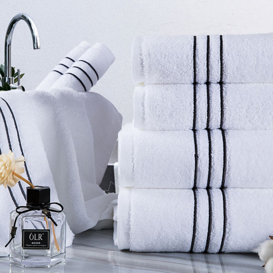 Luxury Gift Towel New Dobby Style White Towel 100% Cotton Embroidered Washcloth Hotel Hand Bath Towel pictures & photos