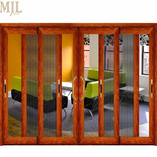 China New Design Security Mesh Aluminum Clad Wood Sliding Glass Door