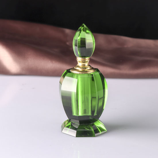 Green Crystal Glass Perfume Bottle for Wedding Gifts
