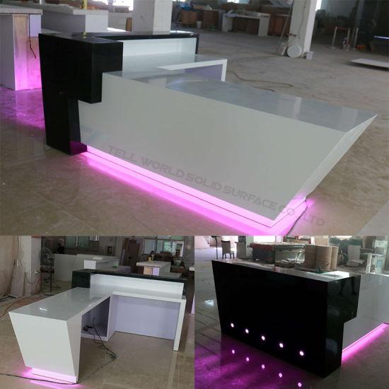Led Light Large Salon Reception Desk Nail Bar Retail
