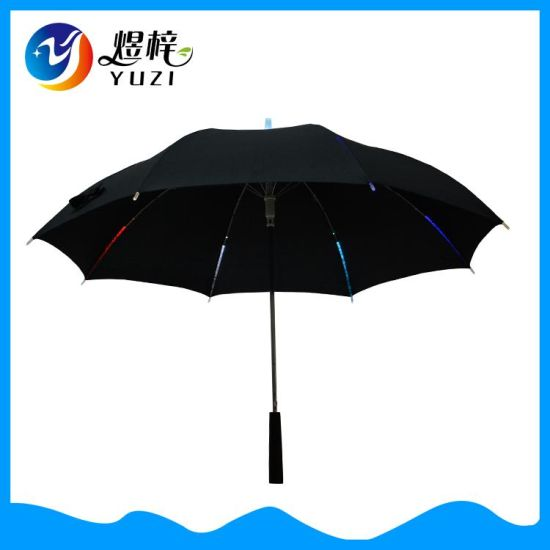 New Style Useful Straight LED Umbrella with Hand Torch