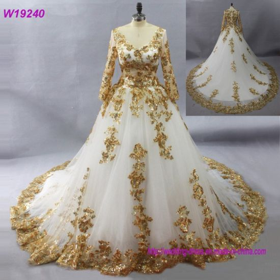 China Gorgeous White Muslim Wedding Dresses with Gold Lace Appliques ...