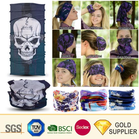 Cheap Wholesale Custom Fashion Sport Printing Silk Cooling Seamless Magic Tube Scarf Printed Head Elastic Collar Neck Polyester Bandana Multifunctional Headwear