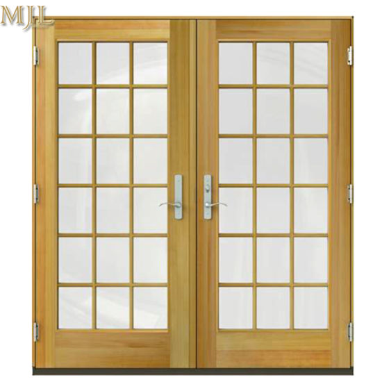 China Aluminum Wood Profile Balcony Exterior Glass Doors With Grill