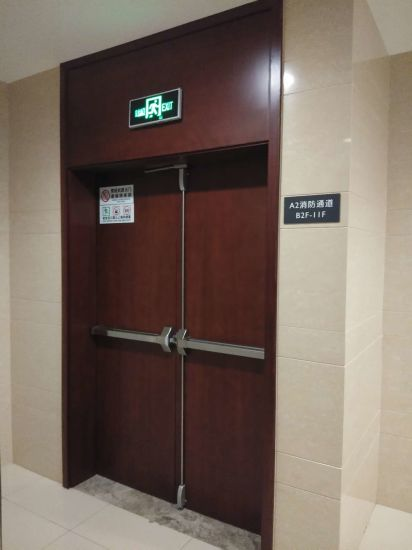 China Factory Exterior Interior Fire Resistance Fire Rated Fireproof Fire Emergency Exit Single Swing Commercial Steel Wood Security Door