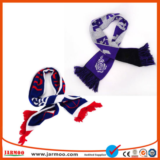 Good Quality Custom Warm Acrylic Knit Football Scarf