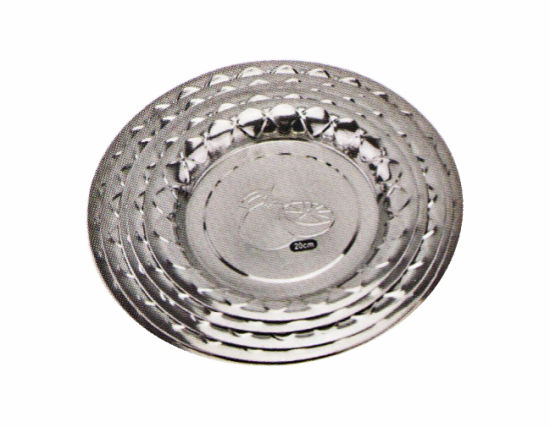 Stainless Steel Kitchenware Oval Tray in Round Design with Decorative Pattern Sp010