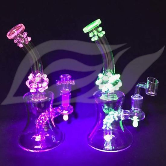 Tobacco Bubbler UV Light Special Water Pipe Oil DAB Rig Glass Smoking Hookah