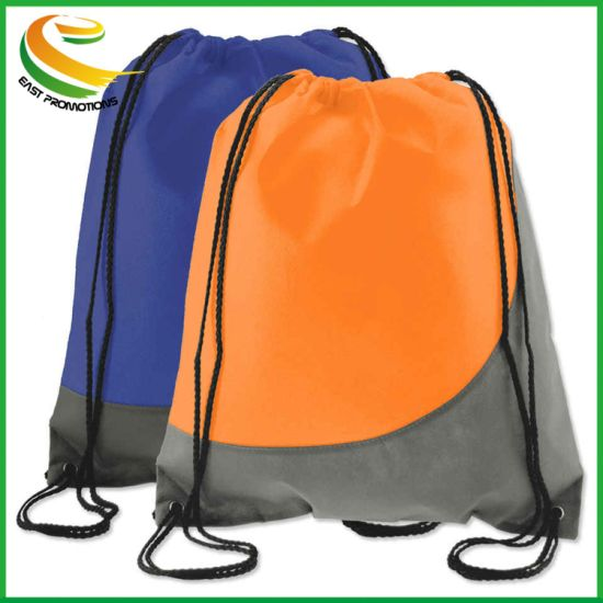 Custom Logo Printing Polyester No Woven Drawstring Bag