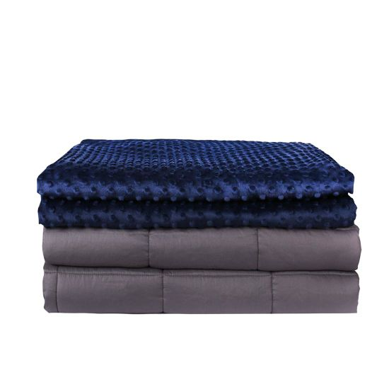 Sensory Minky Gravity Weighted Blanket Adult with Removable Mink DOT Blanke