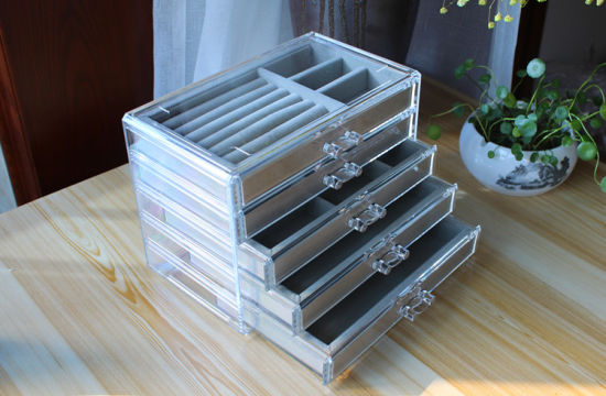 Five Layers Velvet Jewelry Box with Drawers