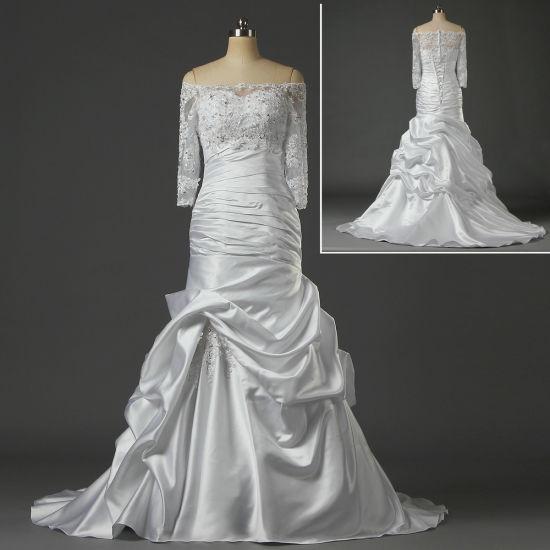 Wholesale Mermaid Satin Wedding Dresses with Lace Jacket W069