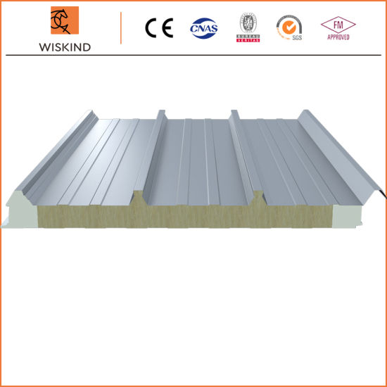 Economic Insulation PU Foam Edge Sealing Rock Wool Sandwich Panel Used on Workshop/Warehouse/Steel Structure