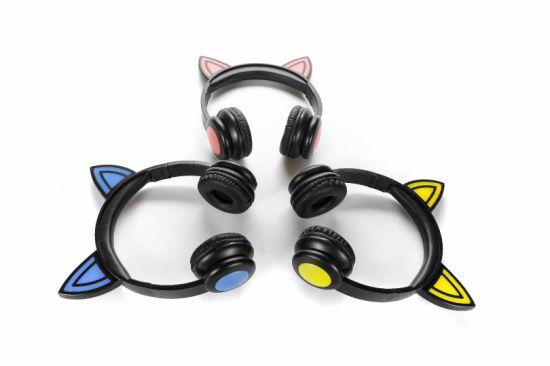 High Quality Fashion Wired Cartoon Cute Animal Rabbit Ears Headphones Wired Headset