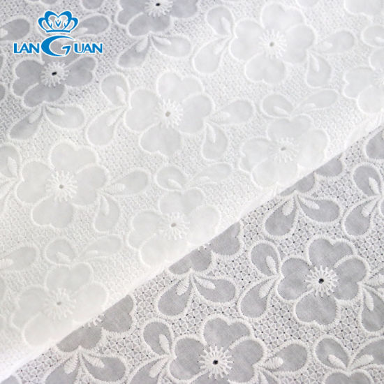 Embroidery Flower High Quality Swiss Lace Cotton Fabric for Curtain/ Sofa