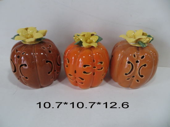 Red Glaze Ceramic Halloween Pumpkin with Porcelain Flower pictures & photos