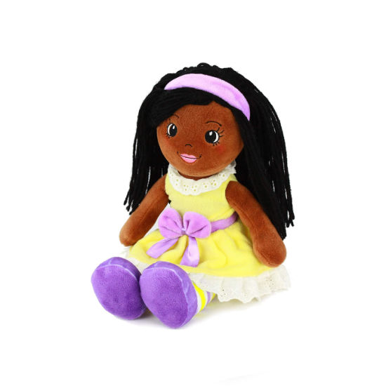 Brown Skin Stuffed Soft Plush Doll Toy with Yellow Dress