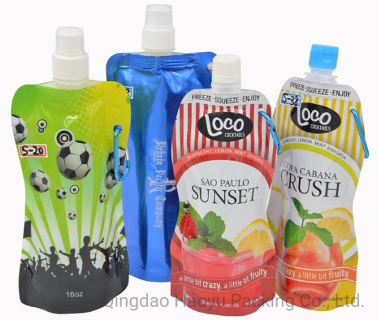 500ml 750ml Foldable Plastic Laminated Packaging Liquid Stand up Pouch Doypack Wine Spout Bag Packing
