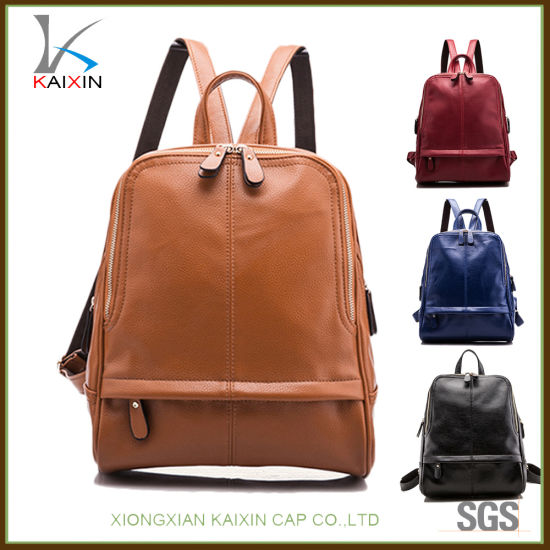 cdd6bc34b886 Women Shopping Backpack Girls Genuine Cheap School Leather Backpack Bag