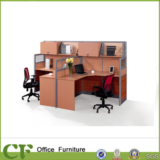 2 Person Office Partition Cubicle With Hanged File Cabinet